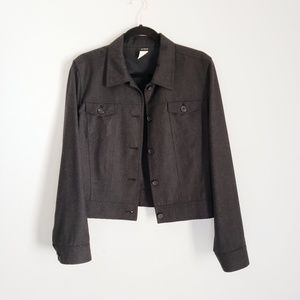 J. CREW 12 Gray Cropped 100% Wool Jacket Military